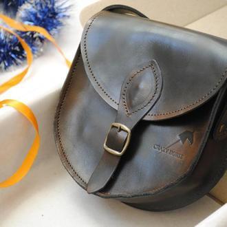 Женская сумка из натуральной кожи крейзи хорс с магнитом Brenda 002