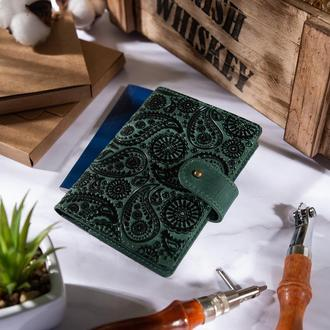"Кожаное портмоне для паспорта / ID документов HiArt PB-02/1 Shabby Alga ""Buta Art"""