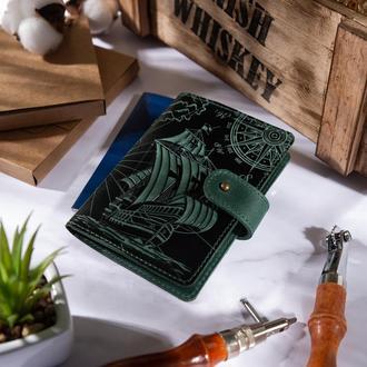 "Кожаное портмоне для паспорта / ID документов HiArt PB-02/1 Shabby Alga ""Discoveries"""