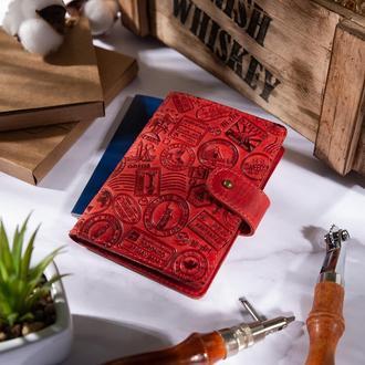 "Кожаное портмоне для паспорта / ID документов HiArt PB-02/1 Shabby Red Berry ""Let's Go Travel"""