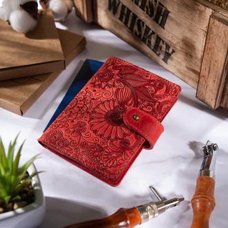 "Кожаное портмоне для паспорта / ID документов HiArt PB-02/1 Shabby Red Berry ""Mehendi Art"""