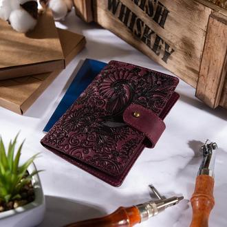 "Кожаное портмоне для паспорта / ID документов HiArt PB-02/1 Shabby Plum ""Mehendi Art"""