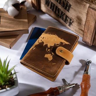 "Кожаное портмоне для паспорта / ID документов HiArt PB-02/1 Shabby Honey ""World Map"""