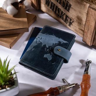 """Кожаное портмоне для паспорта / ID документов HiArt PB-02/1 Shabby Lagoon """"World Map"""""""