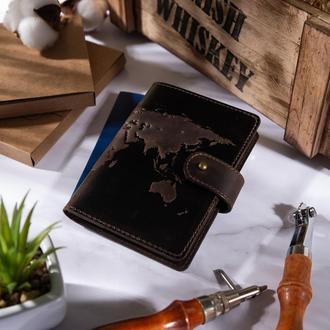 "Кожаное портмоне для паспорта / ID документов HiArt PB-02/1 Shabby Gavana Brown ""World Map"""