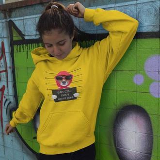 Толстовка, худи с принтом Собака BAD GIRL арестована