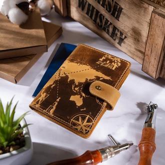 "Кожаное портмоне для паспорта / ID документов HiArt PB-03S/1 Shabby Honey ""7 wonders of the world"""
