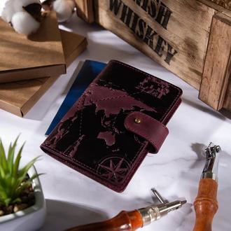 "Кожаное портмоне для паспорта / ID документов HiArt PB-03S/1 Shabby Plum ""7 wonders of the world"""