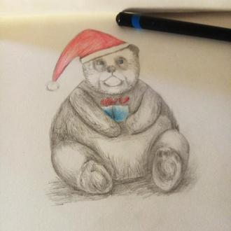 Мишка панда. Открытка мини. Акварельный карандаш.
