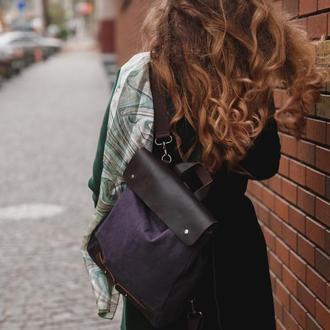 Винтажный женский рюкзак из премиального канваса и кожи.