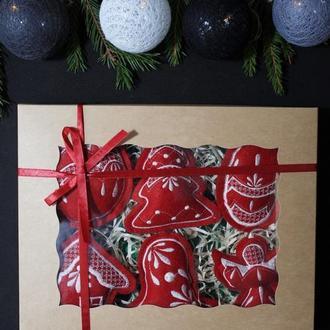"""Набор елочных игрушек """"Рождественский"""" бордовый №2"""