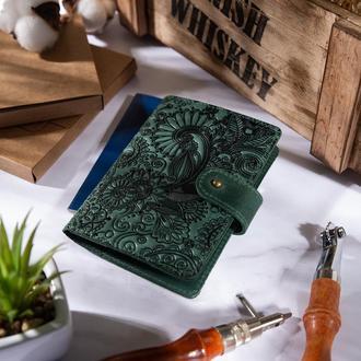 "Кожаное портмоне для паспорта / ID документов HiArt PB-03S/1 Shabby Alga ""Mehendi Art"""