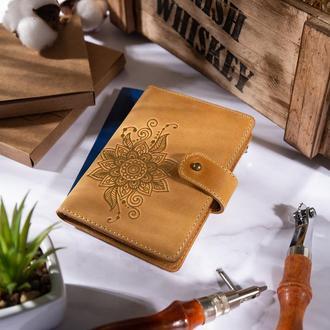 """Кожаное портмоне для паспорта / ID документов HiArt PB-03S/1 Shabby Honey """"Mehendi Classic"""""""