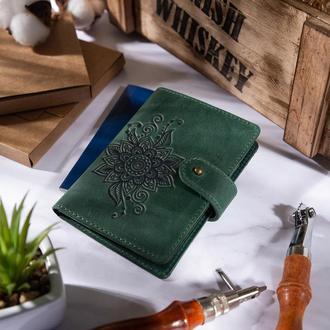 "Кожаное портмоне для паспорта / ID документов HiArt PB-03S/1 Shabby Alga ""Mehendi Classic"""