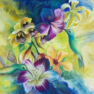 "Картина ""Тропічний сплеск"", акрил, полотно"
