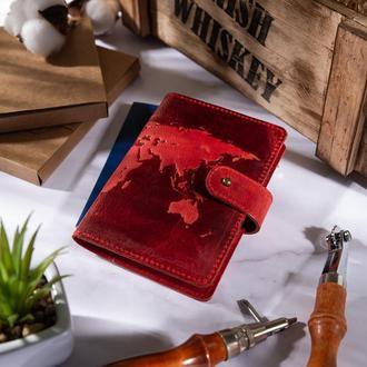 "Кожаное портмоне для паспорта / ID документов HiArt PB-03S/1 Shabby Red Berry ""World Map"""