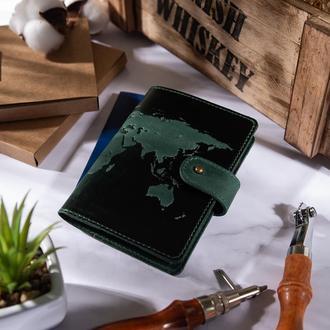 "Кожаное портмоне для паспорта / ID документов HiArt PB-03S/1 Shabby Alga ""World Map"""