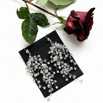 Свадебные серьги, объемные серьги, сережки