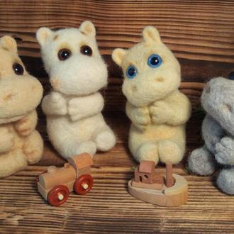 Бегемот валяные игрушки валяный бегемот сестры игрушки животные
