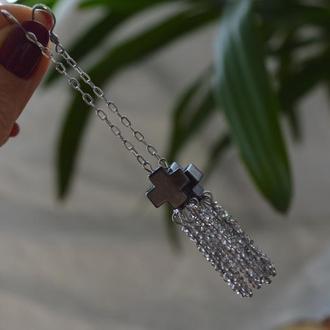 Сережки - люстри сірі з гематитом і чеським кришталем 'Віра'