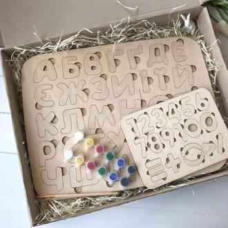 Пазл алфавит большой+цифры+краски Подарок ребенку на День рождения