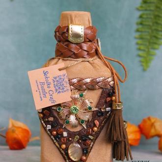Декорированая подарочная бутылка (маленькая) Handmade with love🌿💚