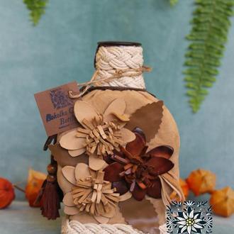 Декорированая экобутылка - станет отличным подарком к любому празднику 💐 - стильное и оригинальное