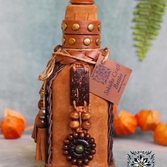 """Декорированая подарочная бутылка (маленькая) """"Я наслідив в Карпатах"""