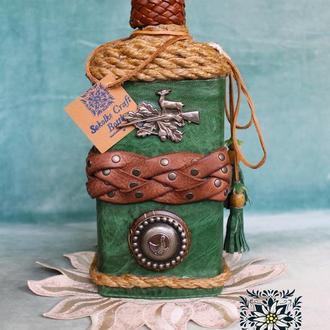 Декорированая подарочная бутылка  Handmade with love🌿💚Подарок охотнику