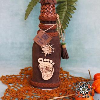 "Декорированая подарочная бутылка (маленькая) Handmade with love🌿💚""Я наслідив в Карпатах"""