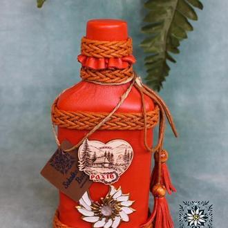 Декорированая  подарочная бутылка (маленькая)  with love🌿💚