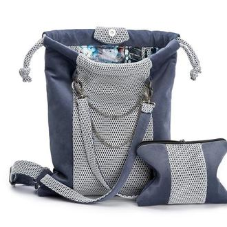 Женский рюкзак  сине -серый цвет
