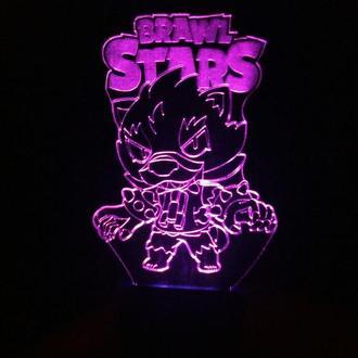 Ночник Brawl Stars, Леон, Leon, 3d светильник лампа в детскую, несколько подсветок, подарок ребенку