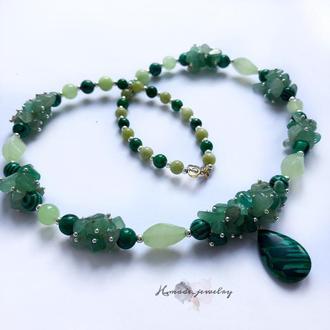 Ожерелье «Изумруд» из малахита и нефрита