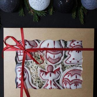 """Набор елочных игрушек """"Рождественский"""" молочный"""