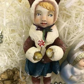 Куколка- подвеска, ватная ёлочная игрушка