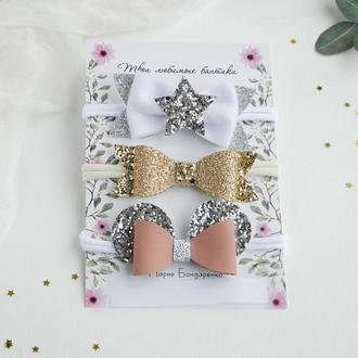 Новогодний набор повязок для девочки / Красивые блестящие повязки для малышки