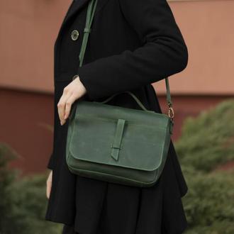 Шкіряна зелена сумка на прихованому клапані