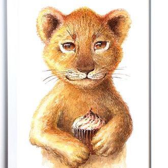"""Картина в детскую """"Рыжий Львенок с Кексиком"""" 20х30 см"""