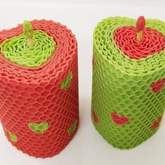 Натуральная свеча в форме сердца из вощины, Оригинальный подарок, свеча для декору в подарочной упак