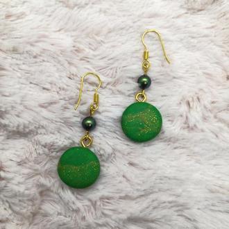 Серги зелёные с золотом