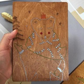 """Открытка картина """"Новогодняя пантера"""" Подарок Новый год Декор из дерева"""