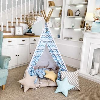 Детский игровой вигвам с пышным ковриком, вигвам-палатка для детей, детский игровой домик-палатка