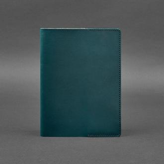 Кожаная обложка для блокнота 6.0 (софт-бук) зеленая