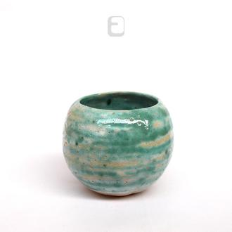 "Work no. 491W — бирюзовая чаша, пиала, тяван, чаван ""Enigmatic Neptune"", teabowl in japanese style"