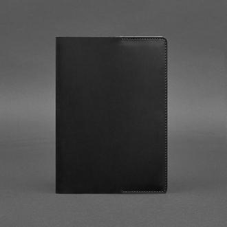 Кожаная обложка для блокнота 6.0 (софт-бук) черная Crazy Horse