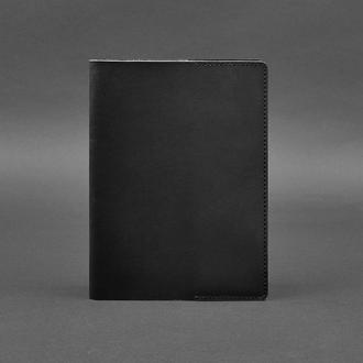 Кожаная обложка для блокнота 6.0 (софт-бук) черная Краст