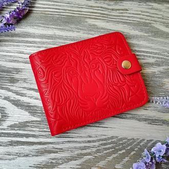 Портмоне женское из натуральной кожи красный лев ручной работы