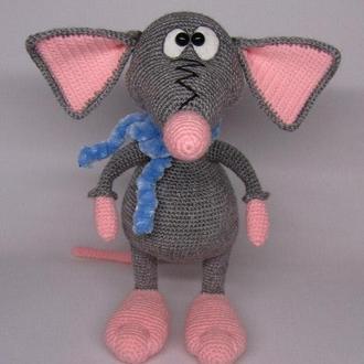 Крысеныш Феликс вязаная игрушка крыса мышка мышь мышонок