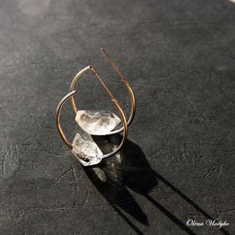 Серебряные серьги кольца с горным хрусталем, серебряные сережки с камнями
